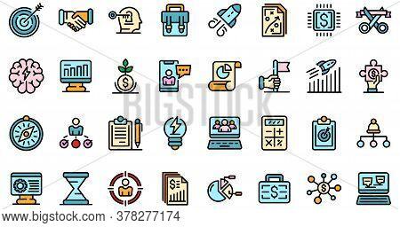 Entrepreneur Icons Set. Outline Set Of Entrepreneur Vector Icons Thin Line Color Flat On White