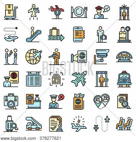Passport Control Icons Set. Outline Set Of Passport Control Vector Icons Thin Line Color Flat On Whi