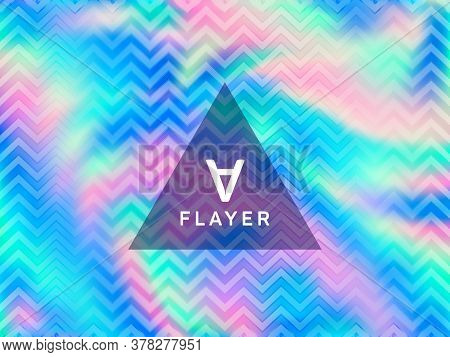 Chrome Voucher Geometric Holographic Vector Background. Fluid Shimmer Overlay Elements. Surreal Abst
