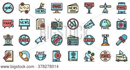 Fake News Icons Set. Outline Set Of Fake News Vector Icons Thin Line Color Flat On White