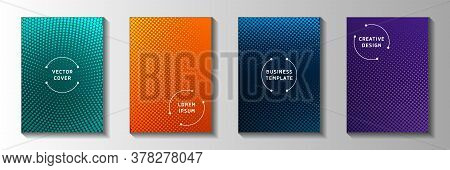 Tech Point Perforated Halftone Title Page Templates Vector Batch. School Poster Faded Halftone Patte