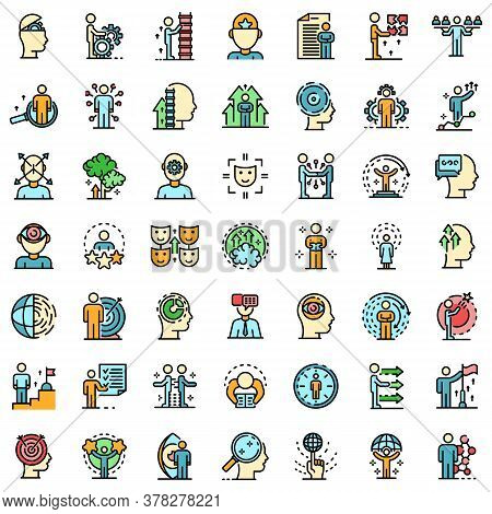 Life Skills Icons Set. Outline Set Of Life Skills Vector Icons Thin Line Color Flat On White