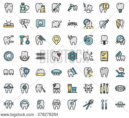 Tooth Restoration Icons Set. Outline Set Of Tooth Restoration Vector Icons Thin Line Color Flat On W