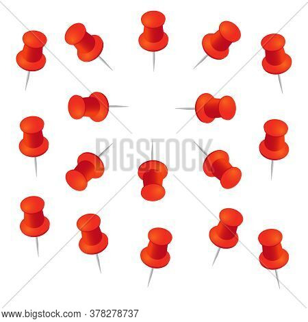 Red Push Pins. Pushpins With Shadows For Paper Memo Vector Illustration