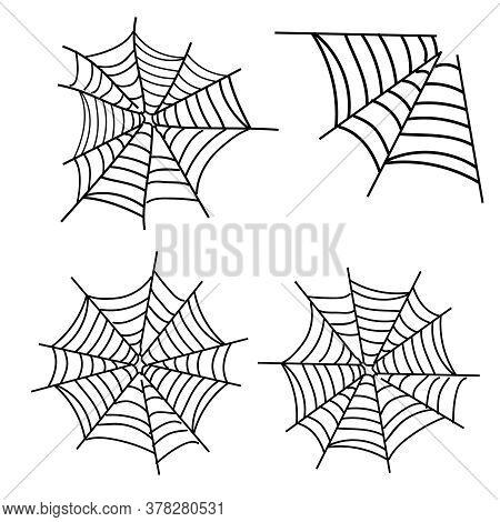 Spiderweb Vector. Spooky Corner Arachnid For Halloween