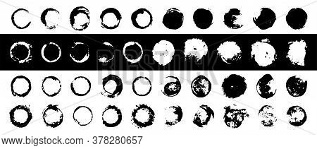 Large Set Of Round Ink Templates. Full Circles And Arcs. Vector Labels For Design. Modern Texture, D