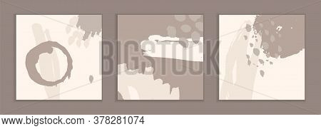 Dirty Ink Stains On A Beige Background. Unusual Art Business Cards. A Set Of Handmade Templates For