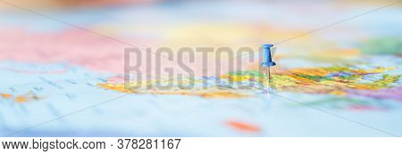 Pushpin Showing The Location Of A Destination Point On A Map. Travel Destination, Pin On The Map. Ve