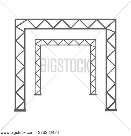 Steel Truss Girder 3d Construction Equipment. Metal Framework Isolated Vector Illustration. Framewor