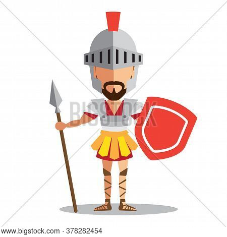 Knight Wearing Armor Holding A Shield And A Sword On White Background