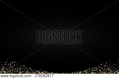 Yellow Shard Shiny Black Background. Festive Triangle Design. Golden Sparkle Happy Illustration. Shi