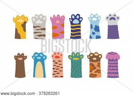 Colorful Cat Paw Set Isolated On White Background - Cute Animal Paws