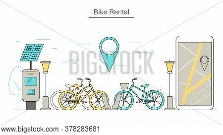 Bike Rental Service Concept Contour Linear Style Include Of Bike, Mobile Phone And Pin. Vector Illus