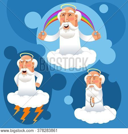 Cartoon Color Character Person Cute God On Heaven Religion And Spirituality Concept Flat Design . Ve