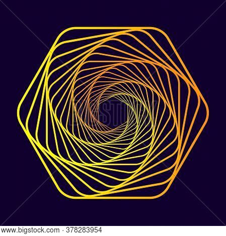 Twisted Abstract Wireframe Tunnel. Colorful Vector Illustration