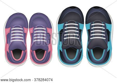 Realistic Detailed 3d Color Sneakers Set For Sport Training Or Walking. Vector Illustration Of Fashi