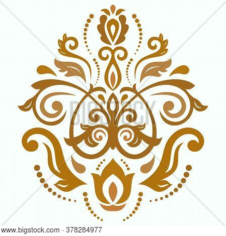 Oriental Vector Pattern With Colored Arabesques And Floral Elements. Traditional Classic Ornament. V