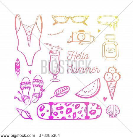 Vector Background Of Summer Fashion Trends For Woman And Girls. Beach, Ocean Modern Style. Hand Draw
