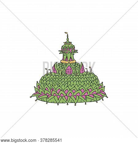 Symbol Asian Thai Loy Krathong Festival, Festive Green Float With A Candle And Light.