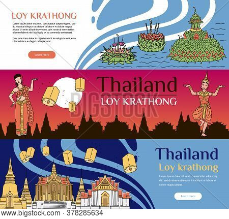 Set Of Banner And Flyer Template For Loy Krathong Celebration.