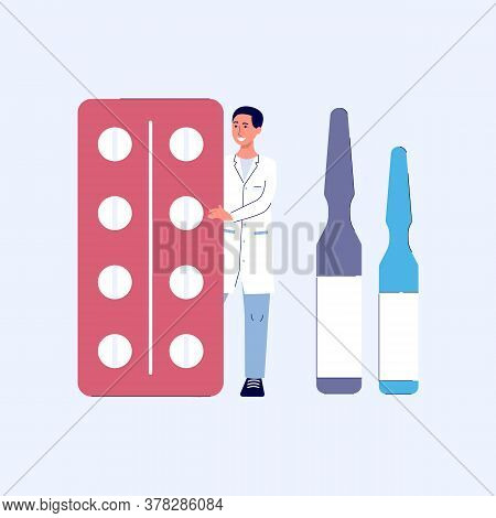 Man Doctor Or Pharmacist Stands And Holds Pills, Tablets Or Ampoules, Pharmacy Or Drugstore Concept