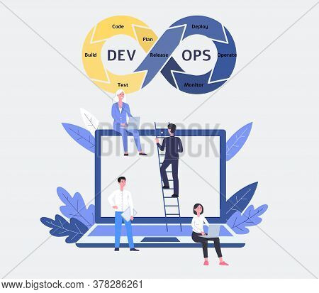 Devops Software And Development Operations Team With Woman And Man Programmer.