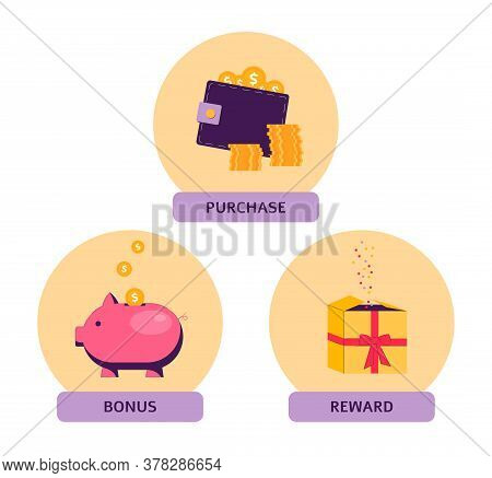 Set Of Icons And Objects Of The Loyalty Program - Earn A Bonus, Reward Or Gift After Purchase.