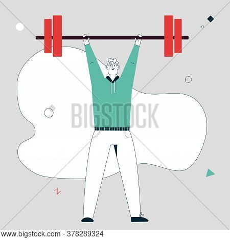Vector Linear Character Illustration Of Smiling Sportsman Lifted Barbell