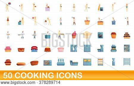 50 Cooking Icons Set. Cartoon Illustration Of 50 Cooking Icons Vector Set Isolated On White Backgrou
