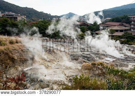 Unzen Hell (unzen Jigoku) In Unzen Onsen Hot Springs Resort. Hot Water, Gases And Steam Spout Out Of
