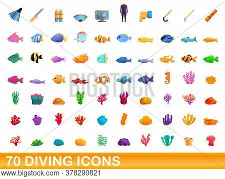 70 Diving Icons Set. Cartoon Illustration Of 70 Diving Icons Vector Set Isolated On White Background