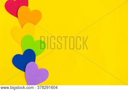 Hearts In Lgbtq Colors On Bright Yellow Background, Top View, Copy Space, Banner