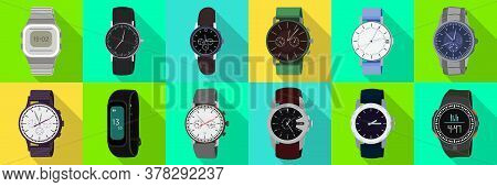 Watch Wrist Vector Flat Set Icon. Isolated Flat Set Icon Wristwatch. Vector Illustration Clock On Wh