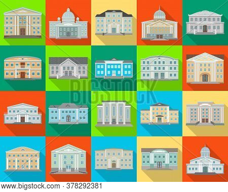 Building Of Government Vector Flat Set Icon. Isolated Flat Set Icon Architecture. Vector Illustratio