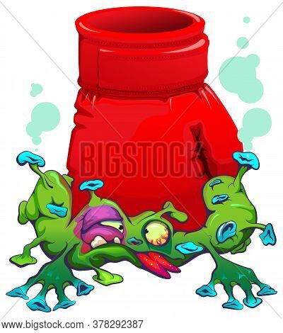 Red Boxing Glove Blow Coronavirus Covid19 Fight Epidemic. Isolated On White Vector Cartoon Illustrat