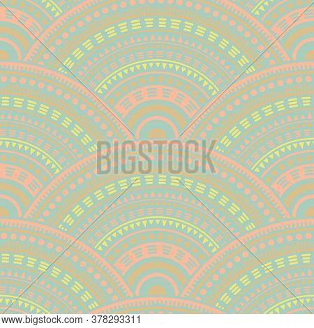 African Circular Shapes Tile Design Vector Seamless Pattern. Tribal Motifs Suzani Repeating Illustra