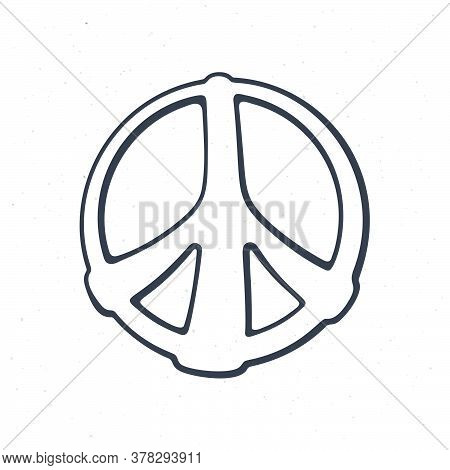 Hippies Colorful Symbol Of Peace. Outline. Sign Of Pacifism And Freedom. Community Of People Against