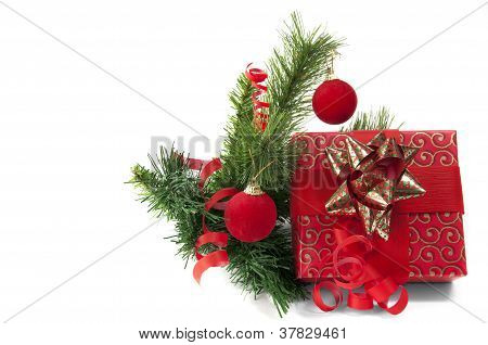 Red Giftbox With  New Year's Decoration