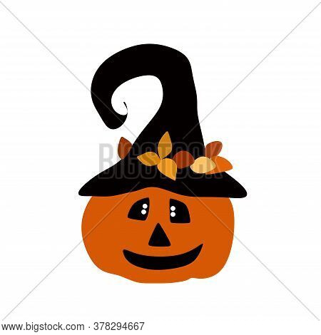 Jack The Pumpkin In The Witchs Hat.pumpkin For Halloween.vector Illustration On A White Background