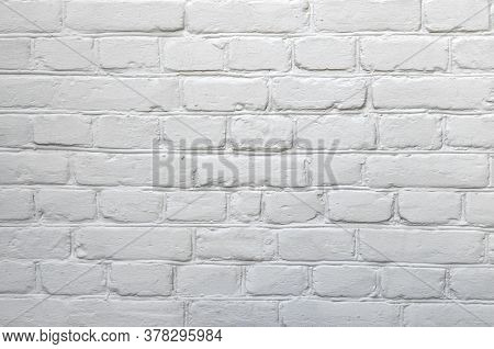 Background With A White Wall, Painted Brickwork Closeup