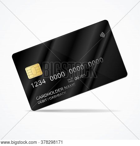 Realistic Detailed 3d Black Plastic Credit Card Template With Chip Debit And Cash Back. Vector Illus