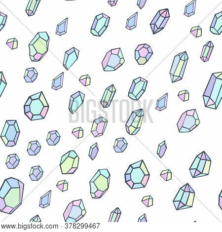 Abstract Seamless Pattern With Precious Crystals. Beautiful Modern Texture With Chaotic Painted Elem