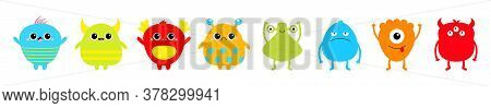 Happy Halloween. Monster Set Line. Cute Kawaii Cartoon Sad Character Icon. Eyes, Horns, Hands Up, To