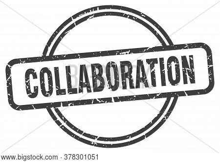 Collaboration Stamp. Collaboration Round Vintage Grunge Sign. Collaboration