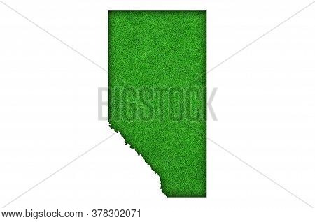 Detailed And Colorful Image Of Map Of Alberta On Green Felt