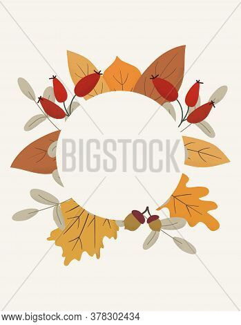 Seasonal Autumn Hand Drawn Frame Vector Background.fall Decorative Border With Dried Leaves,acorns,b