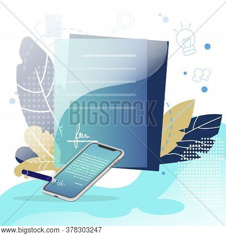 Digital Signature And Contract. Business Deal And E-contract, Business Document Agreement. Vector Pa