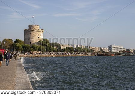 Thessaloniki, Greece - September 22, 2019: Panorama Of Embankment Of City Of Thessaloniki, Central M