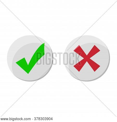 Tick And Cross Icon, Yes And No Badge. Correct Choice And Choose, Right And Wrong, Voting And Poll,