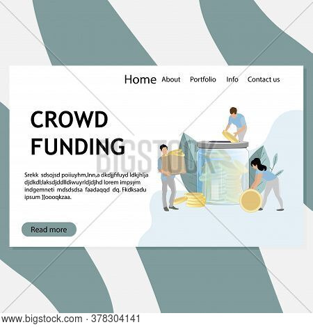 Crowd Funding Web Page, Donation And Investment, Donate Coin And Collect Finance Capital. Vector Cro